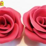 Roses en pâte à sucre